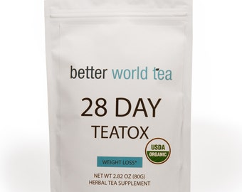 Weight Loss Tea: Detox, Body Cleanse, Reduce Bloating, & Appetite Suppressant, 28 Day Teatox , with Potent Traditional Organic Herbs