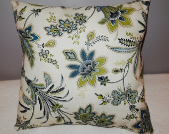 """Blue/Green Floral Decorative Throw Pillow Cover 18""""x18"""", Grey, Yellow, zip closures"""