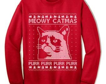 Meowy Catmas Christmas Sweater Sweatshirt Purr Purr Meow Cat Fur Kitty Funny Cat Ugly Sweater Sweatshirt Jumper Ugly Pullover Christmas Gift