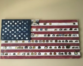 Vintage Painted American Flag Military Coin Holder