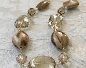 Smoky topaz swarovski crystal necklace