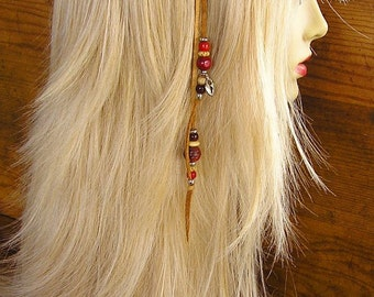 "11"" Beaded Honey Leather hair clip with red trade beads and heart lock charm on a 1"" snap hair clip"