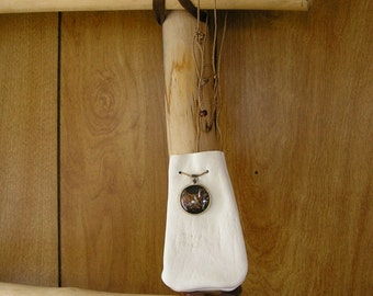 """Some Gave All white deerskin Leather Drawstring Pouch with a glass charm and trade beads - 4 1/2"""" x 3"""",with a  36"""" adjustable neck-cord"""