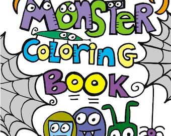 PDF Printable Digital Version Pop Art Monster Coloring Book
