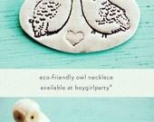 Owl Love - Valentine Necklace - Valentines Gift Valentines Day Gift Snowy Owl Necklace