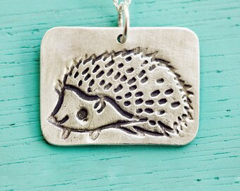 Silver HEDGEHOG NECKLACE by boygirlparty, woodland animal pendant - hedgehog jewelry ecofriendly silver, kawaii cute