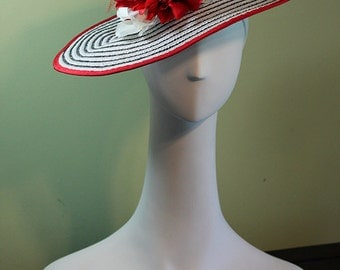 White and Black Striped Women's Derby Hat with Flowers OOAK - Kentucky Derby Hat - Ascot Hat - Flower Hat