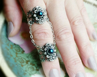 Double Armor Ring Gothic Filigree With Black Rainbow Glass Stones Adjustable Statement Jewelry
