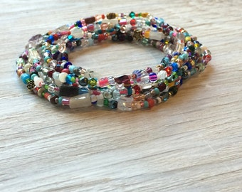 Long seed bead necklace or multi wrap bracelet