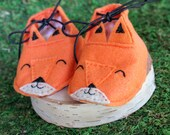 fox mox / orange baby moccasins / baby booties / woodland moccasins / baby shower woodland theme