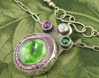 "Ceramic Worry Stone ""Green Thumb"" Sterling Pendant with Malachite and Amethyst stones - OOAK"