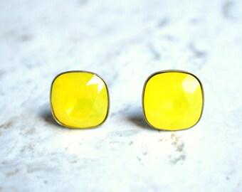 The Scarlett- Yellow Opal Swarovski Post Earrings