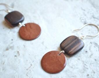 The Bauhaus- Brown Enamel and Wood Earrings