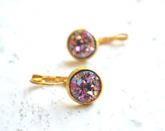 The Starlight- Pink and Purple Druzy and Gold Leverback Earrings