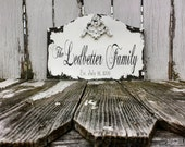 CUSTOM NAME SIGN, Wedding Sign, Shabby Chic Wedding Sign, Bridal Gift, Family Name Sign, Hand Painted Sign, Personalized, Distressed