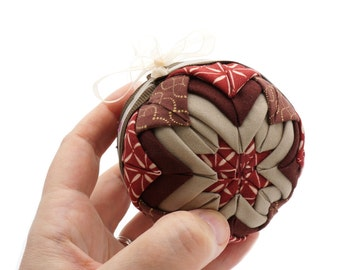 """Quilted Christmas Ornaments - 3"""" Ball Country Home Decor - Handmade Keepsake Ornament"""