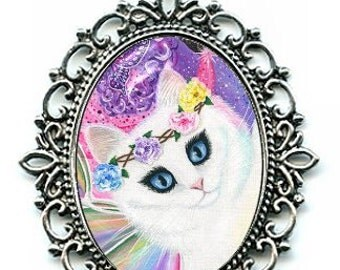 White Fairy Cat Necklace Rainbow Fairy Cat Cameo Pendant 40x30mm Gift for Cat Lovers Jewelry