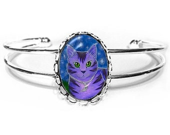 Purple Cat Bracelet Astra Celestial Moon Cat Painting Silver Fantasy Cat Art Cameo Bracelet 25x18mm Gift for Cat Lovers Jewelry