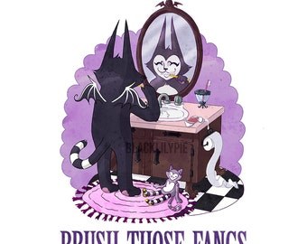 Brush Those Fangs - 8 by 10 inch print featuring batcat