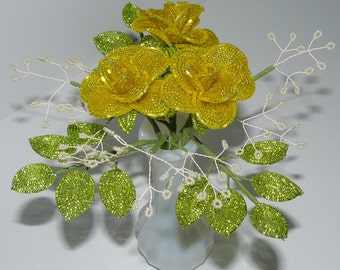 Beaded Flowers Bouquet Three Medium Yellow Roses With Baby's Breath