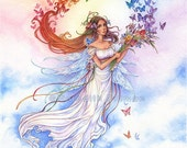 Fairy art print, Rainbow, Iris flowers, butterflies, fantasy print, art print 8x10
