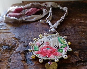 Sweet Rose Necklace, Vintage Embroidery, Beaded, Vintage Silk, Fibre, Rustic, Faded Rose, Bohemian, Boho, Pretty