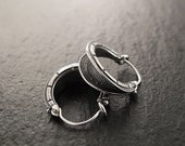 Earrings - Double-Ribbed Hoop Earrings in Sterling Silver - Small, Sculptural - Handmade in Seattle