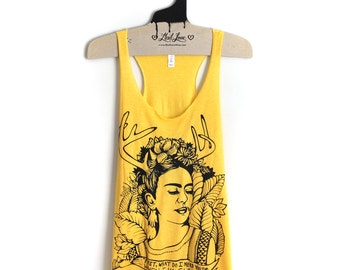 S,M-Tri-Blend Yellow Racerback Tank with Frida Screen Print