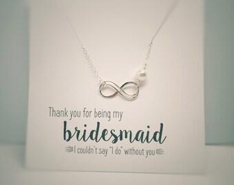 Infinity Necklaces for Bridesmaids, Bridesmaid Gift Idea, Pearl Necklaces for Bridesmaids, Bridesmaid Necklace Set, Friendship Necklaces