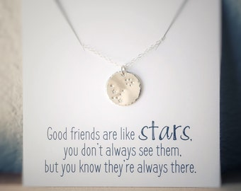 Friendship Necklace, Gemini Constellation Necklace, Long Distance Friend Gift, May Birthday Gift, Zodiac Necklace Personalized Gift