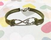 Infinity of Love Leather Bracelet, Infinity Love Bracelet, Leather Bracelet, Bridesmaid Bracelet, BBF Gift, Friendship gift, Gift for Mom