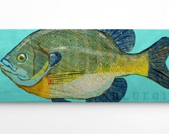 Outdoor Gift, Fish Art, Bluegill Fishing Gifts for Men, Bluegill Art Block Sign, Fish Print Gift for Son, Bluegill Print