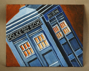 "TARDIS Doctor Who Police Phone Box Original Acrylic Painting 8"" x 10"""