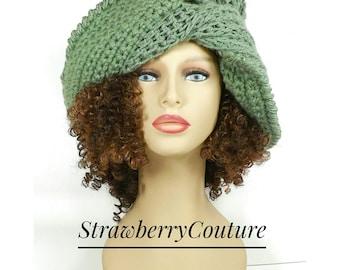 Floppy Hat Womens Crochet Hat, Crochet Wide Brim Hat Crochet Floppy Hat, Womens Crochet Hat Womens Hat Trendy,  Sage Green Hat, Lounger Hat