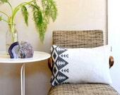 Native Inspired Design Pillowcase Gray & Snowy White Small Throw Cushion