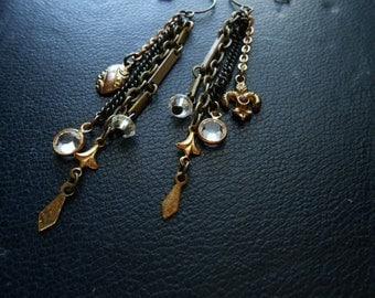 aristocrat - fleur de lis and rhinestone victorian antique collage found object shoulder duster earrings