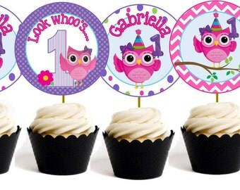 Personalized  Printable Owl Cupcake Toppers