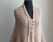 Extra Large Hand Knit Prayer Meditation Comfort Shawl Wrap Poncho Cape, Triangle, Tan Blush Neutral,  Ready to Ship, FREE SHIPPING