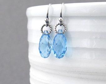 Dainty Blue Earrings Aquamarine Earrings March Birthstone Jewelry Blue Crystal Earrings Silver Jewelry Blue Dangle Earrings - Petite Drops