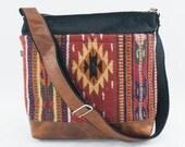 Hold for Danya- Jane Crossbody/Diaper Bag in Wool Saddle Blanket- Orange