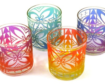 Samoan Flower - Lowball Tumbler Glasses - Set of 4 - Inlaid Style - Etched and Painted Glassware - Custom Made to Order
