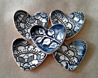 Ceramic Heart ring bowls 5 Navy Blue itty bittys