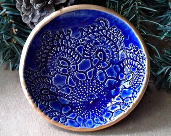 Cobalt Blue Ceramic Lace gold edged Ring Bowl Trinket bowl