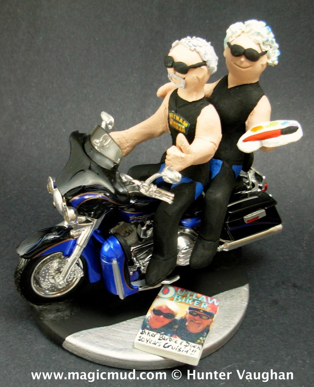 Groom And Bride On Harley Davidson Wedding Cake Topper