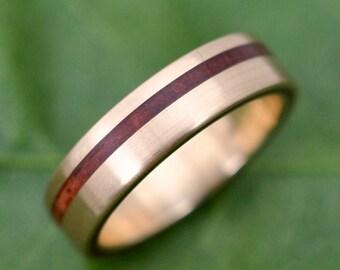 Equinox Guapinol 14k Yellow Gold Wood Ring - ecofriendly wood wedding band, 14k yellow gold wood wedding ring