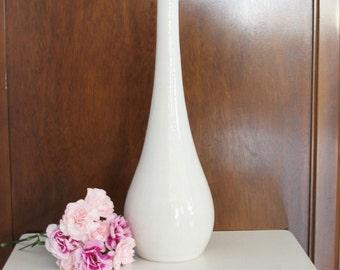 Modern Tall White Vase - Large White Porcelain Bottle - White Pottery Vase - Large Ceramic Bottle Vase