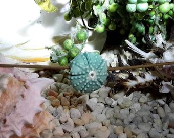 handmade ceramic sea urchin focal bead matte turquoise blue sea urchin bead porcelain jewelry or fiber art supply big bold chunky beads