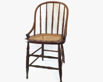 Antique Oak Bentwood Spindle Back Caned Chair