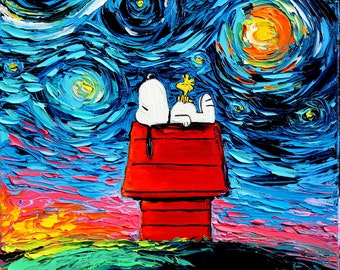 Snoopy Art - Peanuts Cartoon Starry Night print van Gogh Never Saw Woodstock by Aja 8x8, 10x10, 12x12, 20x20, and 24x24 inches choose size