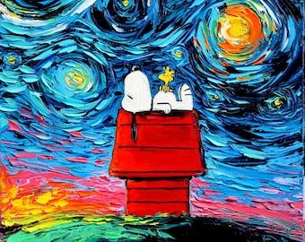 Snoopy Art - Peanuts Cartoon Starry Night print van Gogh Never Saw Woodstock by Aja 8x8, 10x10, 12x12, 20x20, and 24x24 inches choose size